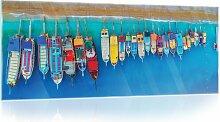 Glasbild Boote Am Strand Longshore Tides Größe: