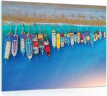Glasbild Boote Am Strand Longshore Tides