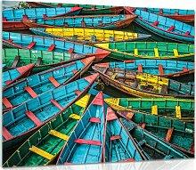 Glasbild Boote Longshore Tides Größe: 60 cm H x