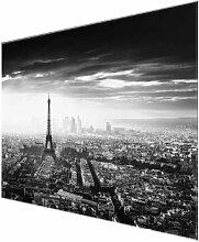 Glasbild Der Eiffelturm von oben East Urban Home