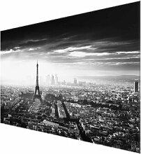 Glasbild Der Eiffelturm von oben in Schwarz/Weiß