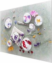 Glasbild Essbare Blumen mit Lavendelzucker East