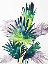 Glasbild Exotische Blätter einer Fächerpalme