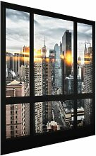 Glasbild Fensteransicht von New York bei