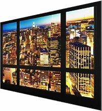 Glasbild Fensterblick auf New York bei Nacht East