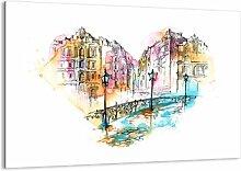 Glasbild Herz der Stadt