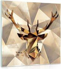 Glasbild Hirsch Alpen Home Größe: 30 cm H x 30