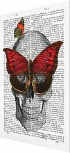 Glasbild Lesender Totenkopf aus Schmetterlingen
