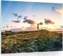 Glasbild Leuchtturm Longshore Tides