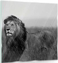 Glasbild Löwe in Schwarz/Weiß World Menagerie