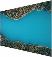 Glasbild Luftbild auf einen tiefblauen See