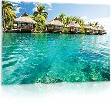 Glasbild Malediven Haus am Meer