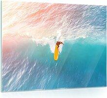 Glasbild Meer Surfer Haus am Meer