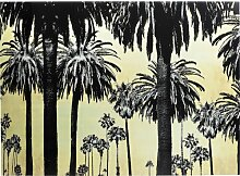 Glasbild Metallic Palm Trees