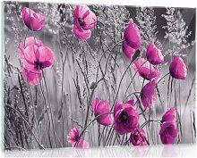 Glasbild Mohnblumen in Schwarz/Weiß/Rosa 17