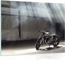 Glasbild Motor in Schwarz/Weiß/Grau Williston