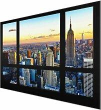 Glasbild New York bei Sonnenaufgang East Urban Home