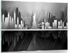 Glasbild Nowy York in Schwarz/Weiß/Grau