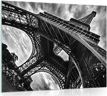 Glasbild Paris Eiffelturm in Schwarz/Weiß