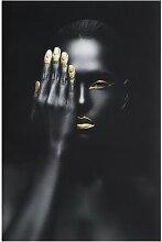 Glasbild Schwarzgold, Fotodruck Oronegro