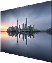 Glasbild Shanghai Skyline Morgenstimmung East