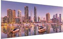 Glasbild Skyline von Dubai mit Marina East Urban