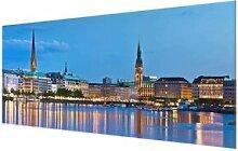 Glasbild Skyline von Hamburg East Urban Home