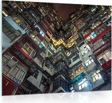 Glasbild Stadt Bei Nacht 17 Stories Größe: 60 cm