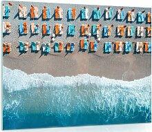 Glasbild Strand Haus am Meer