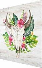 Glasbild Totenkopf mit tropischen Blumen