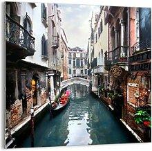 Glasbild Venezianische Landschaft mit Gondel und