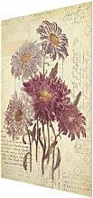 Glasbild Vintage-Blumen mit Handschrift East Urban