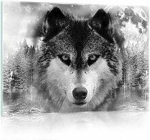 Glasbild Wolf Alpen Home Format: 40 cm x 60 cm