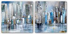 Glasbilder - Glasbild Fedrau - Skyline (2-teilig)
