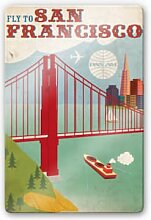Glasbilder - Glasbild PAN AM - Fly to San Francisco