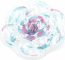 Glasblume, Blüte aus Glas, mit Stab, weiß, gesprenkelt, türkis-brombeer, Mitte brombeer, ca. 18 cm