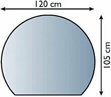 Glasbodenplatte Funkenschutz Kaminplatte Glas viele Formen 6mm Sicherheitsglas (120cm x 105cm - Halbrund)
