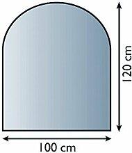 Glasbodenplatte Funkenschutz Kaminplatte Glas viele Formen 6mm Sicherheitsglas (100cm x 120xm - Halbrund)