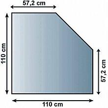 Glasbodenplatte Funkenschutz Kaminplatte Glas viele Formen 6mm Sicherheitsglas (110cm x 110cm - Fünfeck)