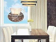 Glasdekor Glastattoo Fenstersticker farbig für Küche Spruch Coffee Bar Kaffee (41x30cm)