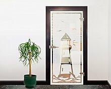 Glasdekor Türfolie Milchglas Leuchtturm I 90 x