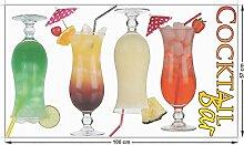 Glasdekoration Fenstersticker Glasdekor Set für Küche Spruch Cocktail Bar (100x57cm)