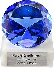 Glasdiamant mit Gravur - Geschenk für Frau (blau)