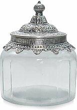 Glasdose Bonboniere Gebäckdose IRIDE Glas mit Metall silber antik