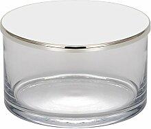 Glasdose mit Deckel 13x7,5 cm H 9 cm 2 TLG Silber