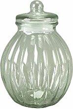 Glasdose mit Deckel Bauchig Aufbewahrungsglas Vorratsglas Konfekt Shabby Chic Groß (Höhe: 30,5 cm)