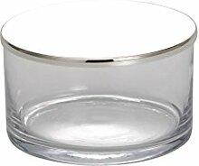 Glasdose mit Deckel glatt poliert / Höhe 7,5 cm x D 13 cm / versilber