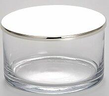 Glasdose mit Deckel - versilbert und anlaufgeschütz