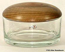 Glasdose mit gedrechseltem Holzdeckel 1702