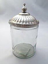 Glasdose mit Silber Deckel Dose Glas Shabby Vintage Küche Deko Bad